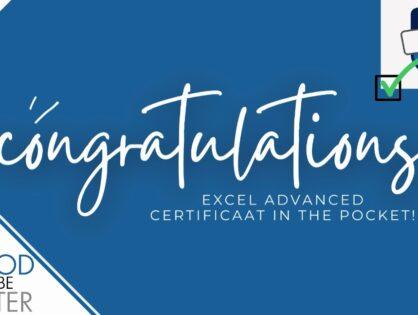 Excel Expert certificaat in the pocket!